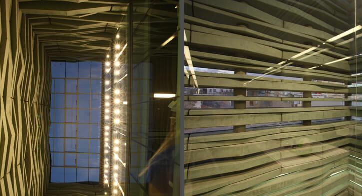 תאורה מעוצבת בפרויקט תאורה במרכז פרס לשלום