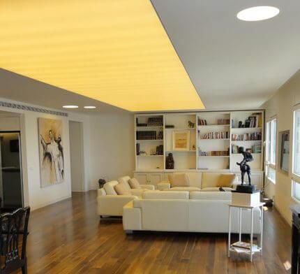 מנורות לסלון בפרויקט תאורה לבית במגדל גן העיר
