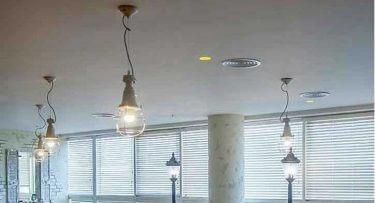 מנורות תקרה בפרויקט תאורה במשרדי החברה הגיאוגרפית בתל אביב