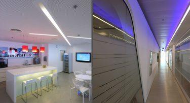 מנורות תקרה בפרויקט תאורה במשרדי מייקרוסופט