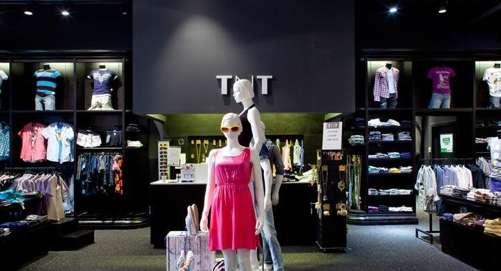 תאורת תקרה בפרויקט תאורה ברשת חנויות אופנה TNT