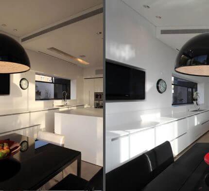 מנורות למטבח בפרויקט תאורה של גל מרום