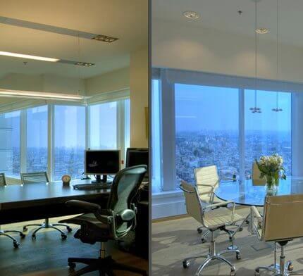 מנורות תקרה בפרויקט תאורה במשרדי בנק דיסקונט