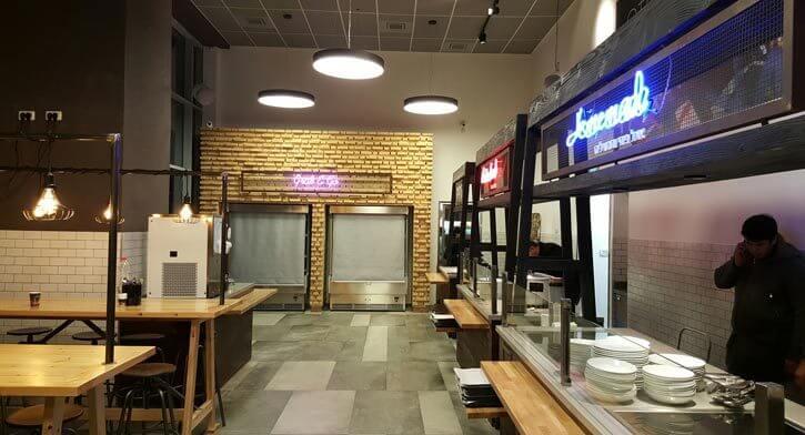 גופי תאורה בפרויקט תאורה במסעדת סטיישן מרקט